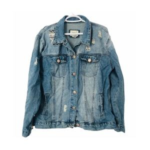 Forever 21 Jean Jacket Destroyed Oversized Blue L